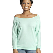 Ladies' Terry Raw-Edge 3/4-Sleeve Raglan Tee