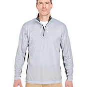 Adult Two-Tone Keyhole Mesh Quarter-Zip Pullover