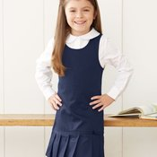 Girls' Twill Pleated Hem Jumper